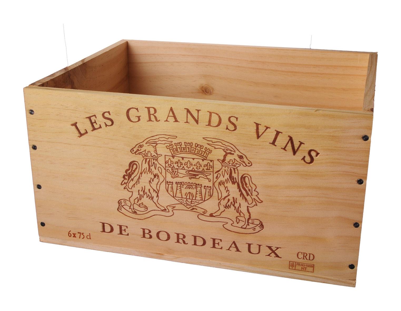 Caisse Bois 6x75cl estampillé Grands Vins de Bordeaux www.odyssee-vins.com