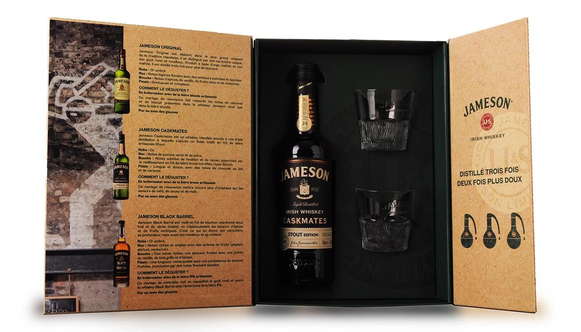 Whisky Jameson Caskmates 70cl Coffret Dégustation 2 verres www.odyssee-vins.com