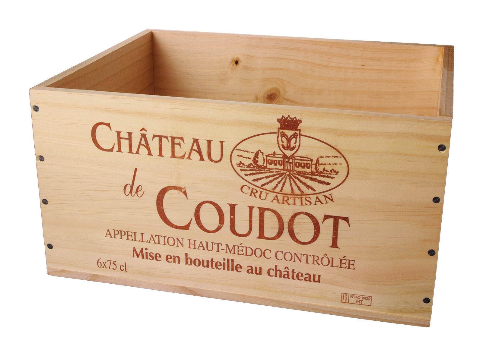 Caisse Bois 6x75cl estampillé Château Coudot www.odyssee-vins.com