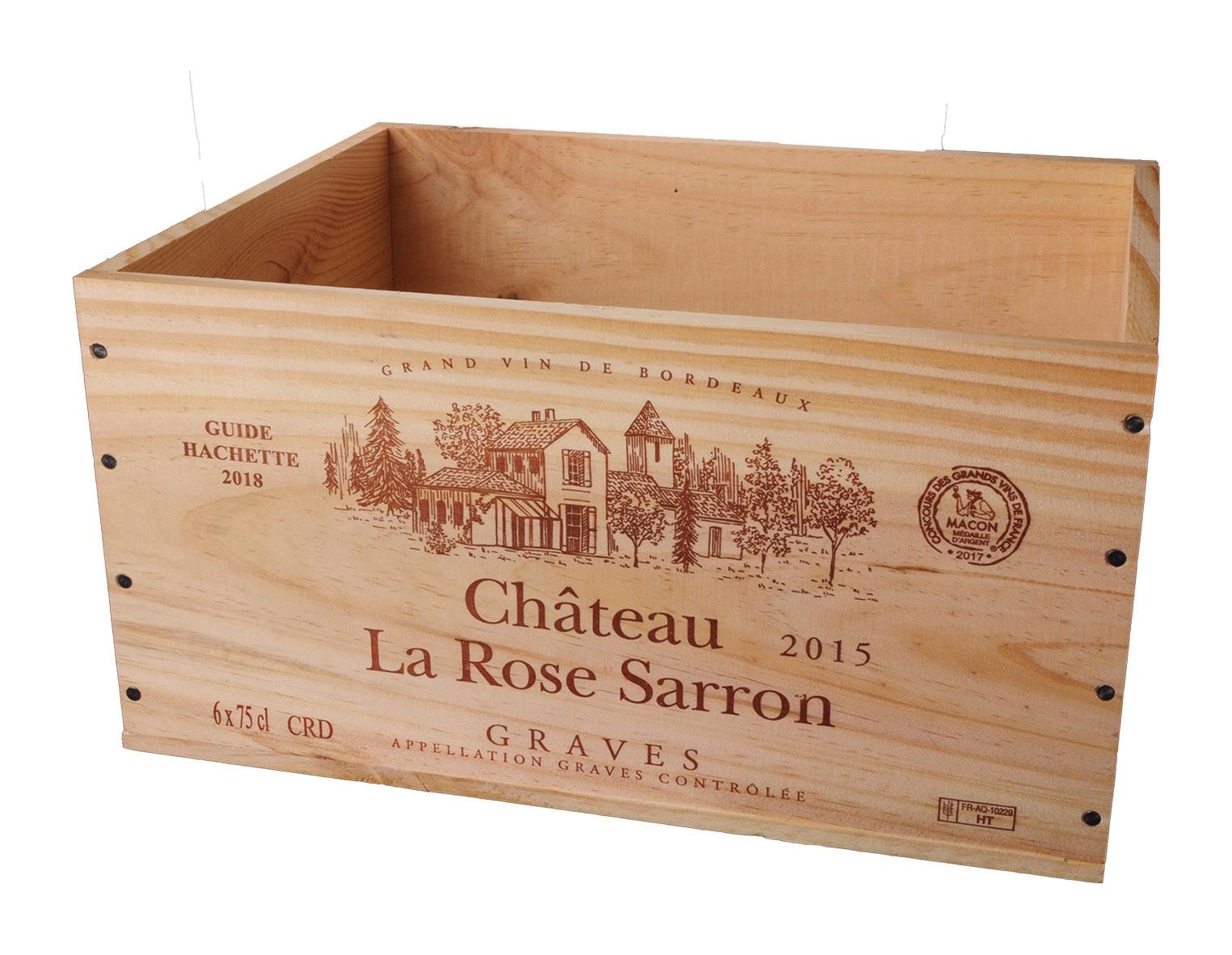 Caisse Bois 6x75cl estampillé La Rose Sarron www.odyssee-vins.com