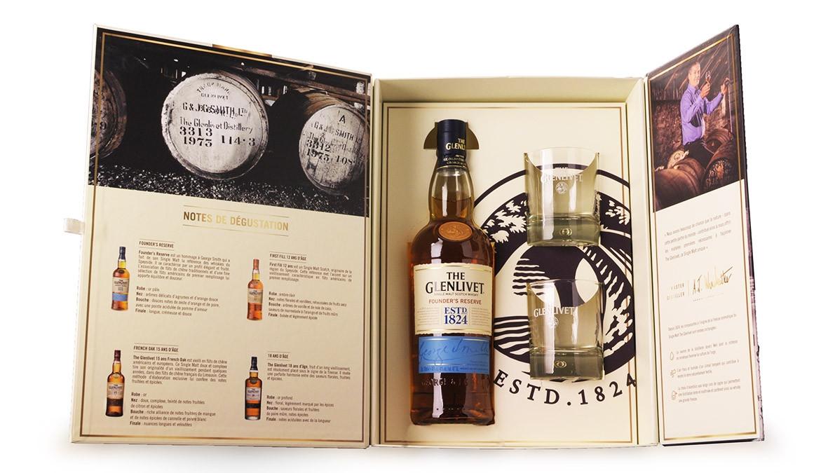 Whisky The Glenlivet Founders Reserve 70cl Coffret Dégustation 2 verres www.odyssee-vins.com