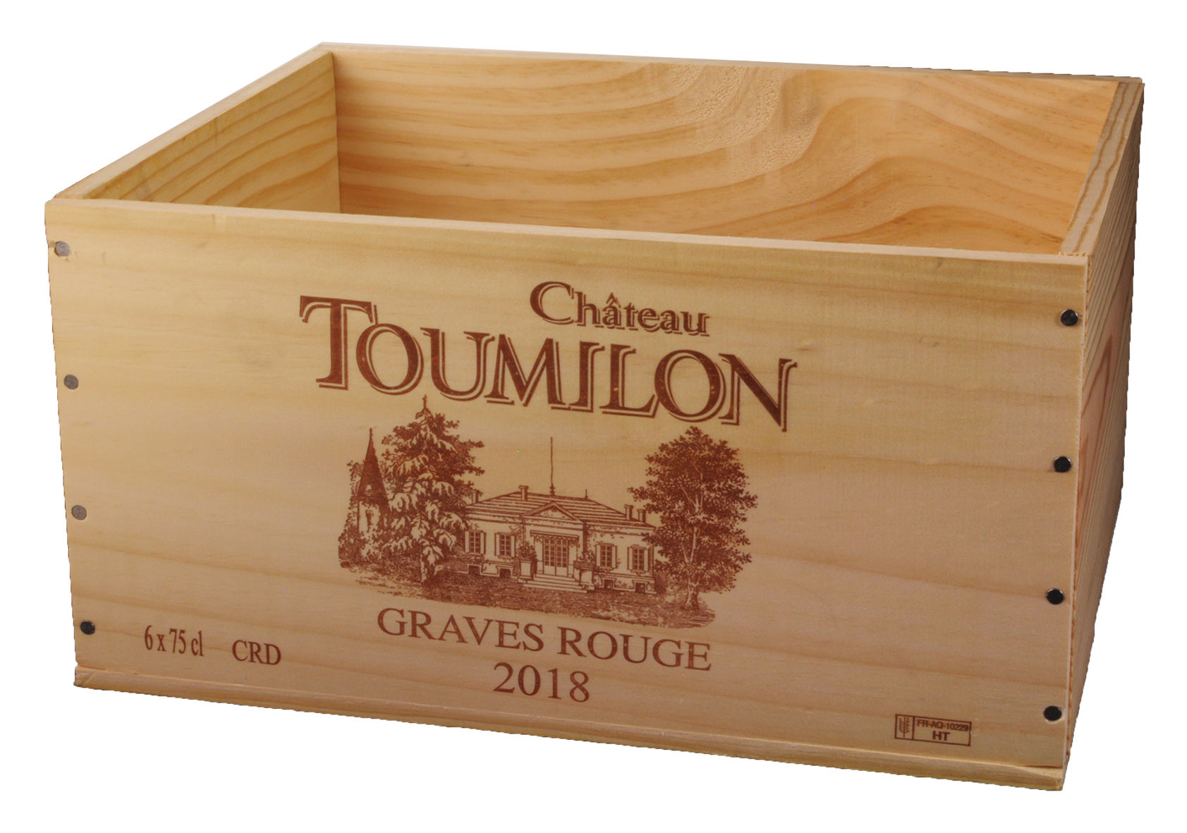 Caisse Bois 6x75cl estampillé Toumilon www.odyssee-vins.com