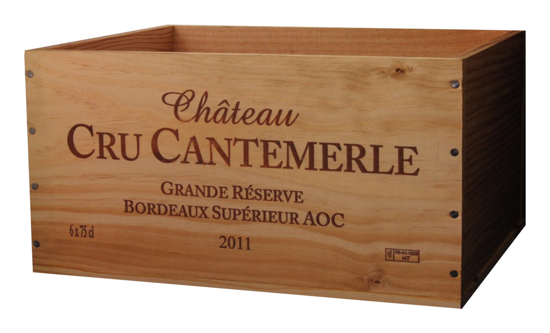 Caisse Bois 6x75cl estampillé Cru Cantemerle www.odyssee-vins.com