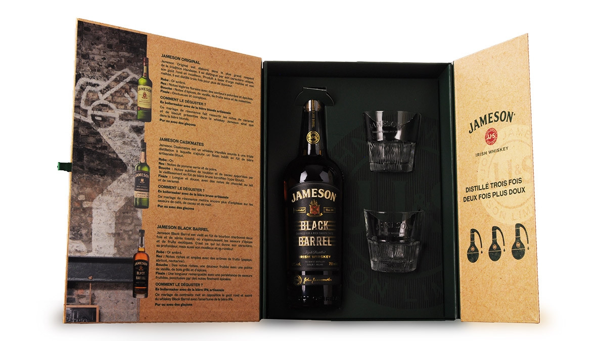 Whisky Jameson Black Barrel 70cl Coffret Dégustation 2 verres www.odyssee-vins.com