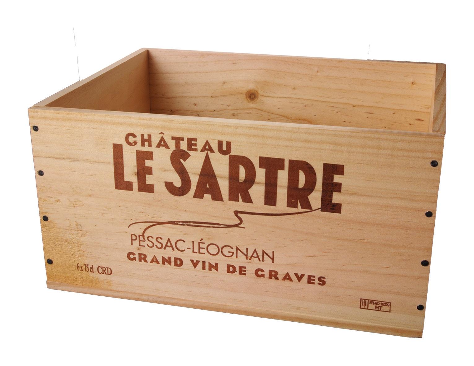Caisse Bois 6x75cl estampillé Château le Sartre www.odyssee-vins.com