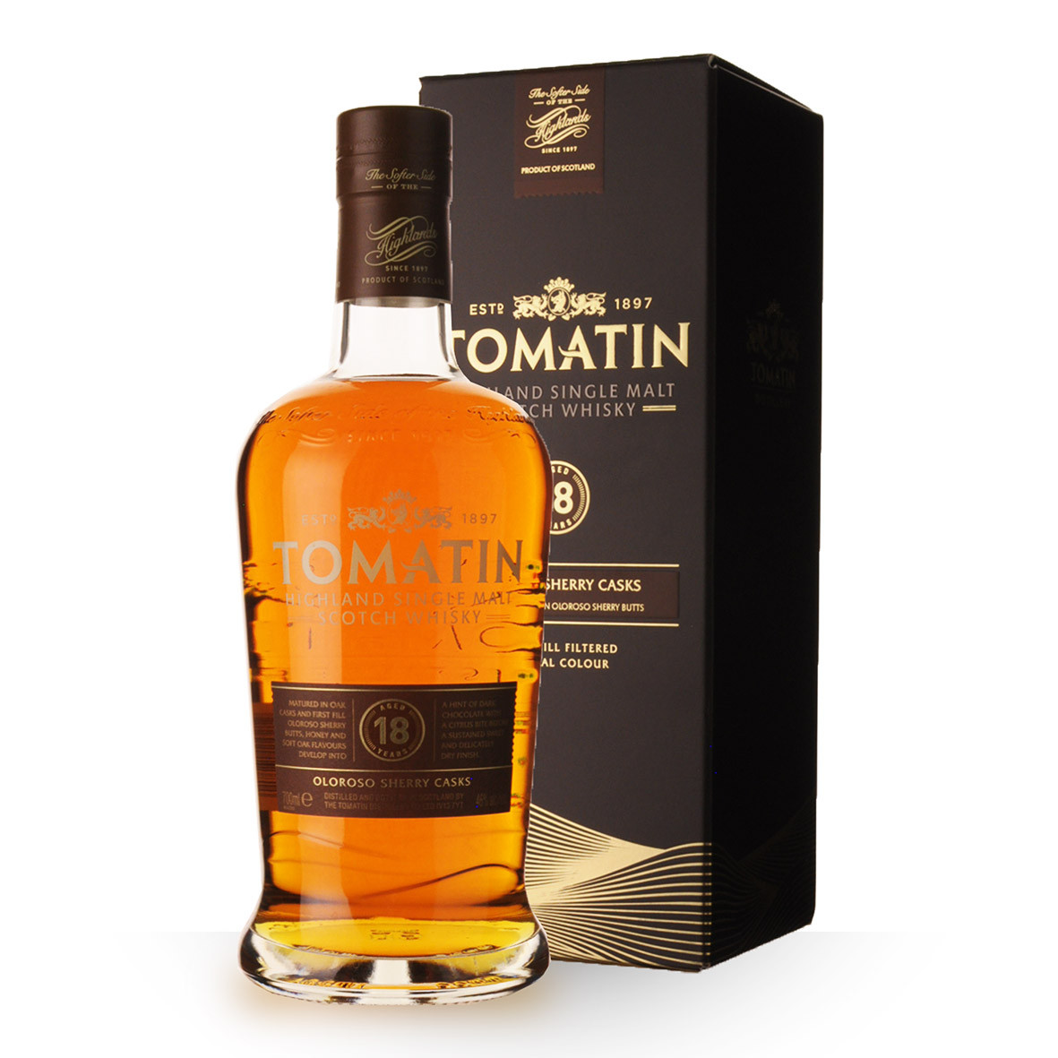 Whisky Tomatin 18 ans 70cl Etui www.odyssee-vins.com
