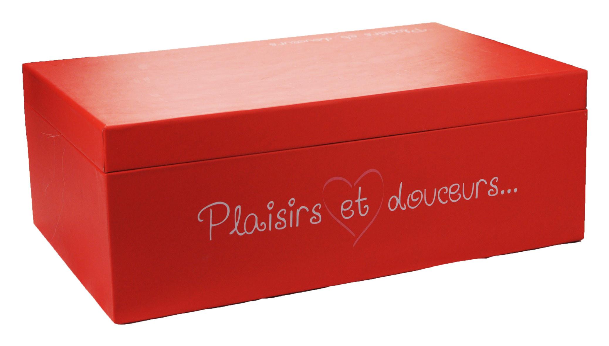 Boite Plaisirs et Douceurs Rouge/Rose 33x21x12cm www.odyssee-vins.com