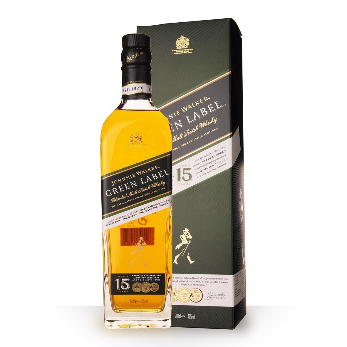 Whisky Johnnie Walker Green Label 15 Ans Réserve 70cl Etui www.odyssee-vins.com