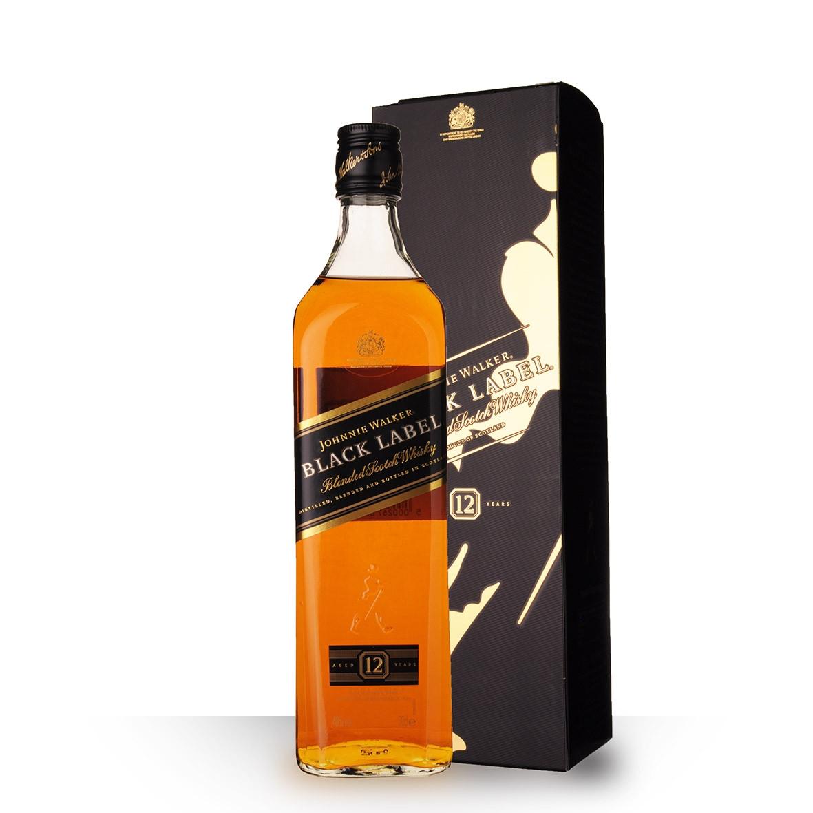 Whisky Johnnie Walker Black Label 12 ans 70cl Etui www.odyssee-vins.com