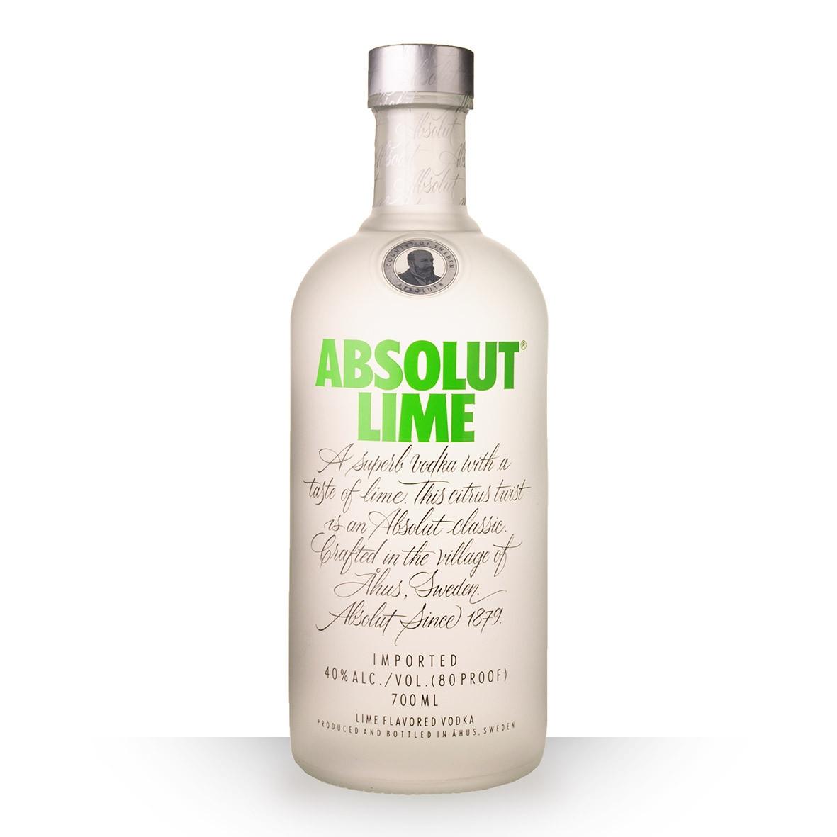 Vodka Absolut Lime (Citron Vert) 70cl www.odyssee-vins.com