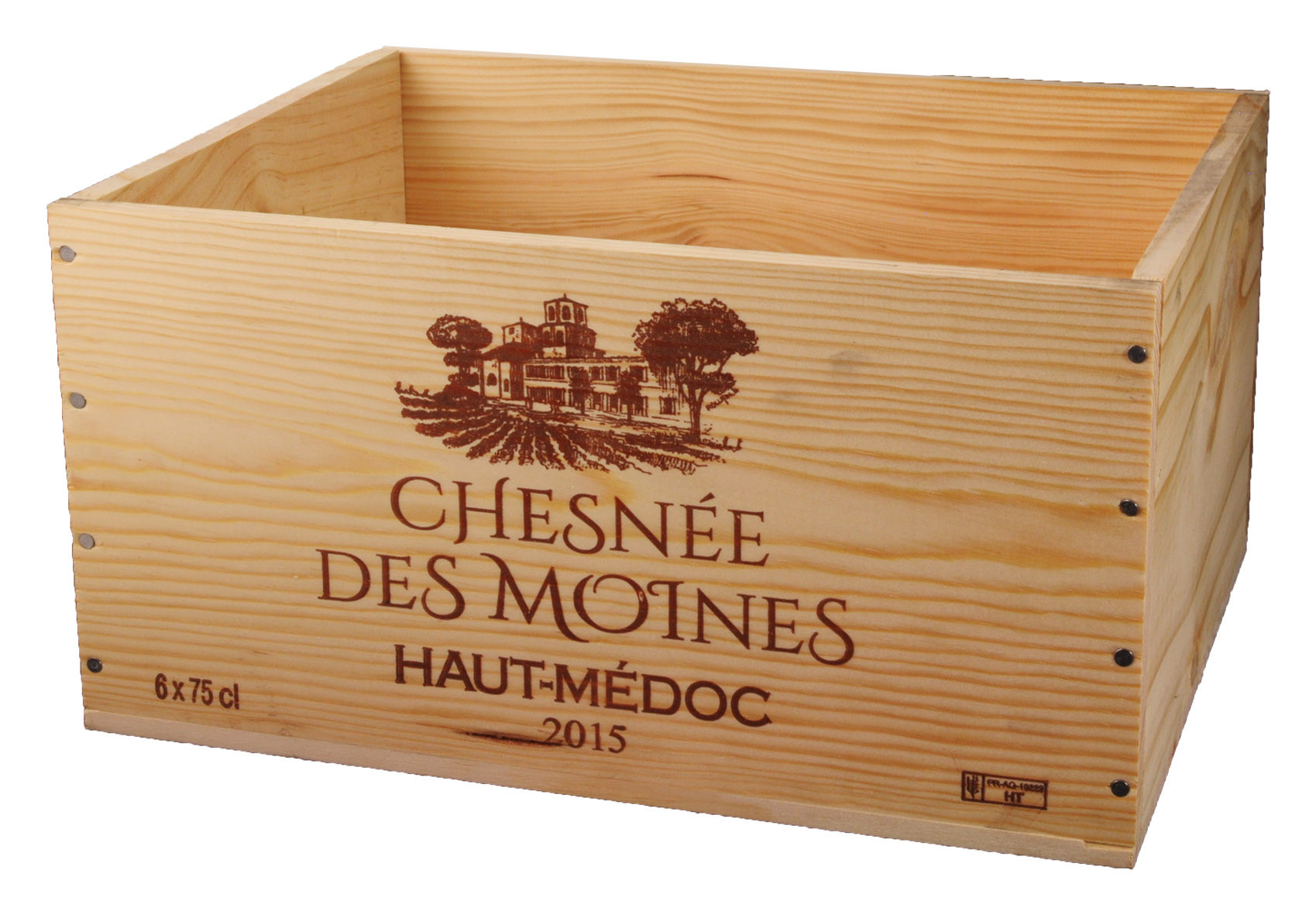 Caisse Bois 6x75cl estampillé Chesnée des moines www.odyssee-vins.com