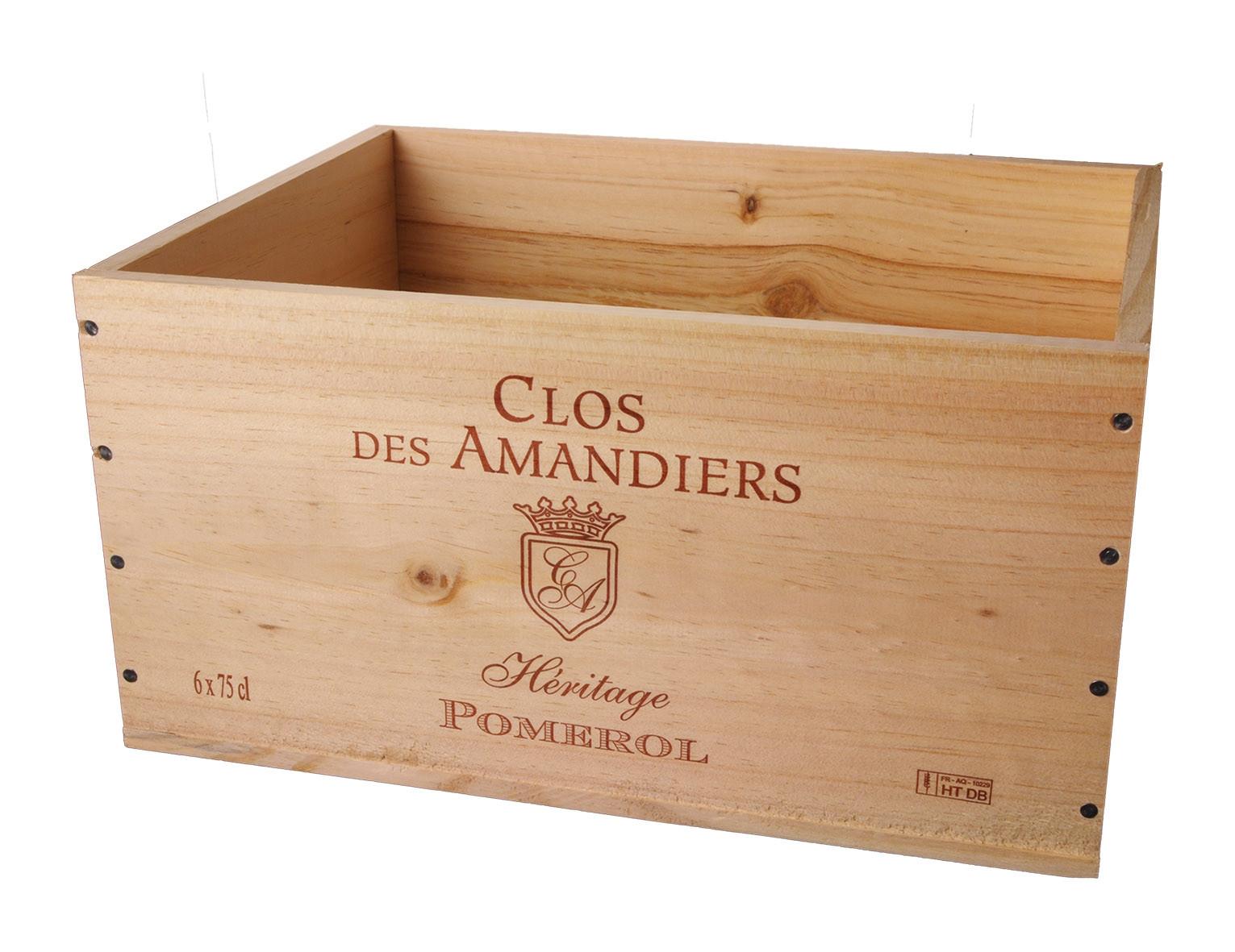 Caisse Bois 6x75cl estampillé Clos des Amandiers www.odyssee-vins.com