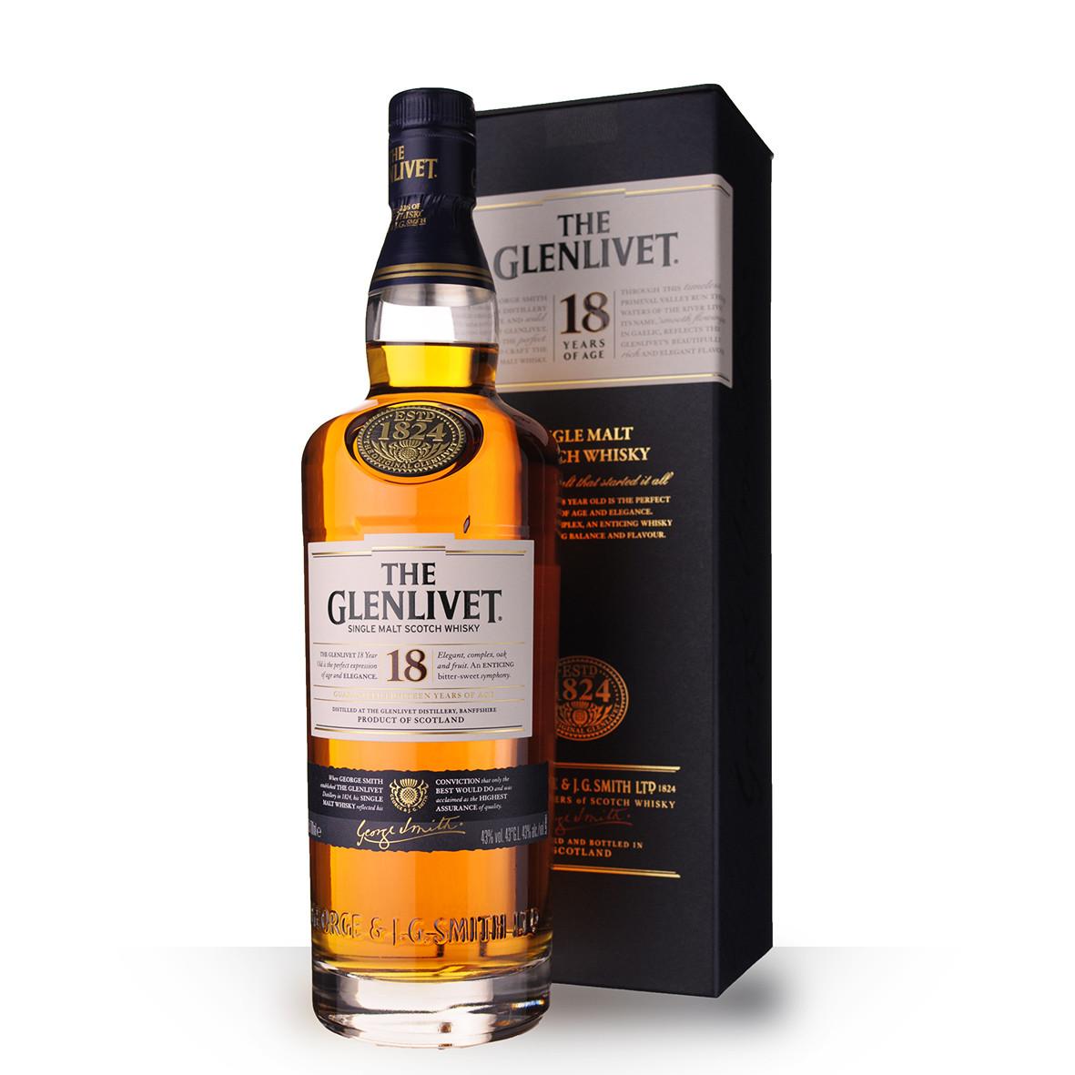 Whisky The Glenlivet 18 ans 70cl Etui www.odyssee-vins.com