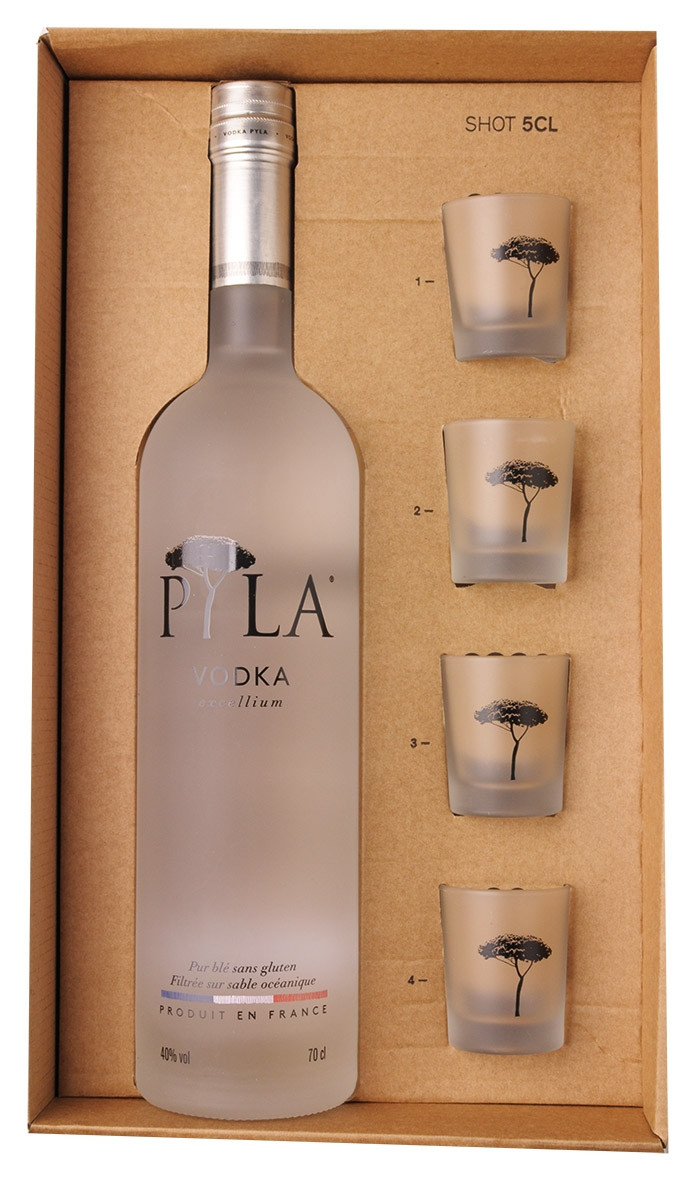 Vodka Pyla 70cl + 4 shooters www.odyssee-vins.com