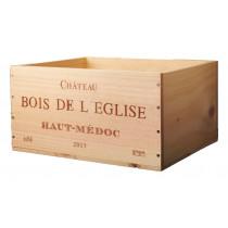 Caisse Bois 6x75cl estampillé Château Bois de lEglise www.odyssee-vins.com