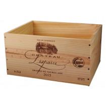 Caisse Bois 6x75cl estampillé Château Lesparre www.odyssee-vins.com
