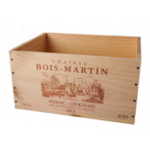 Caisse Bois 6x75cl estampillé Château Bois-Martin www.odyssee-vins.com