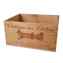 Caisse Bois 6x75cl estampillé Château des Léotins www.odyssee-vins.com