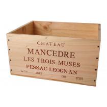 Caisse Bois 6x75cl estampillé Château Mancèdre les trois muses www.odyssee-vins.com